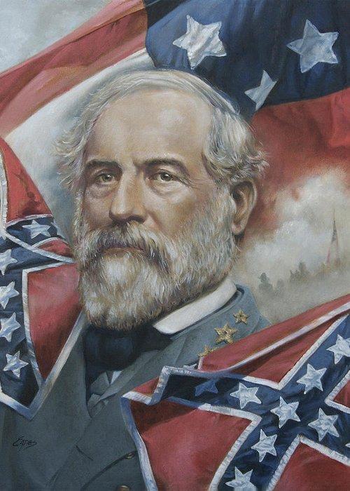 General Lee Greeting Card featuring the painting General Robert E Lee by Linda Eades Blackburn