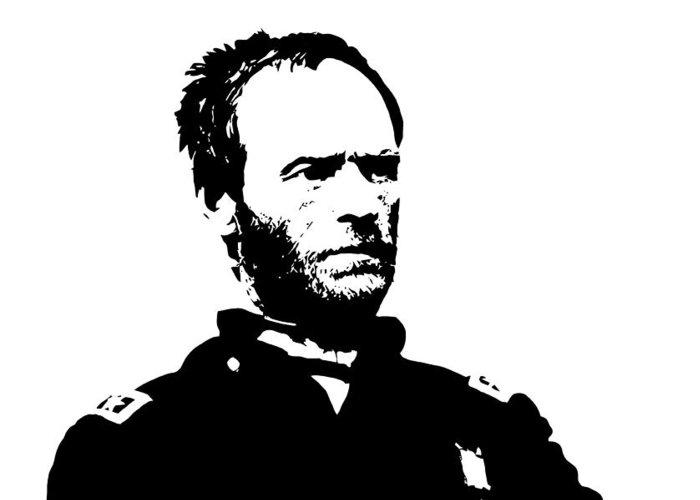 General Sherman Greeting Card featuring the digital art General Sherman by War Is Hell Store