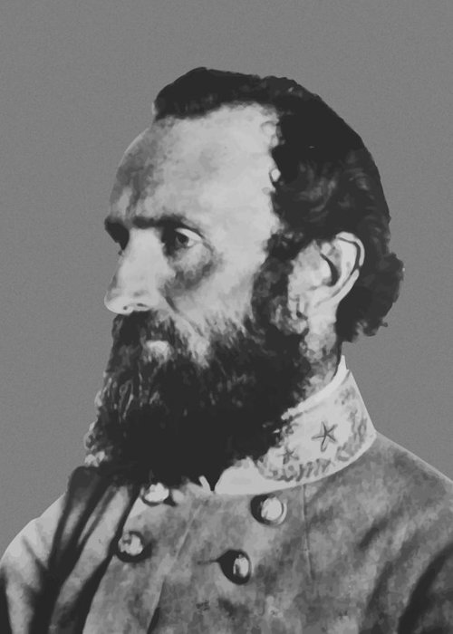 Stonewall Jackson Greeting Card featuring the painting General Stonewall Jackson Profile by War Is Hell Store