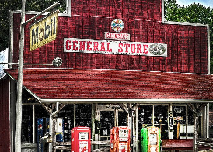 Built 1860 Greeting Card featuring the photograph General Store Cataract In. by Randall Branham