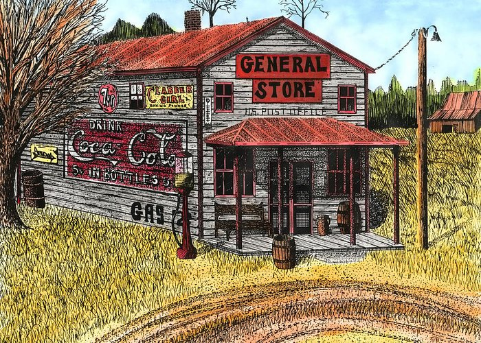 General Store Greeting Card featuring the drawing General Store by Mike OBrien