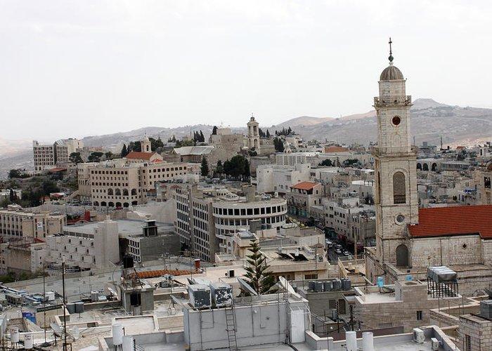 Bethlehem Greeting Card featuring the photograph General View Of Bethlehem 2009 by Munir Alawi