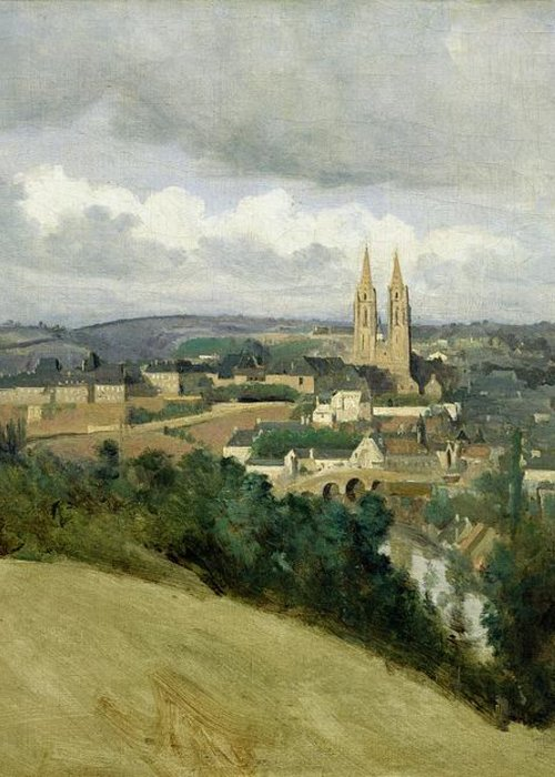 General Greeting Card featuring the painting General View Of The Town Of Saint Lo by Jean Corot
