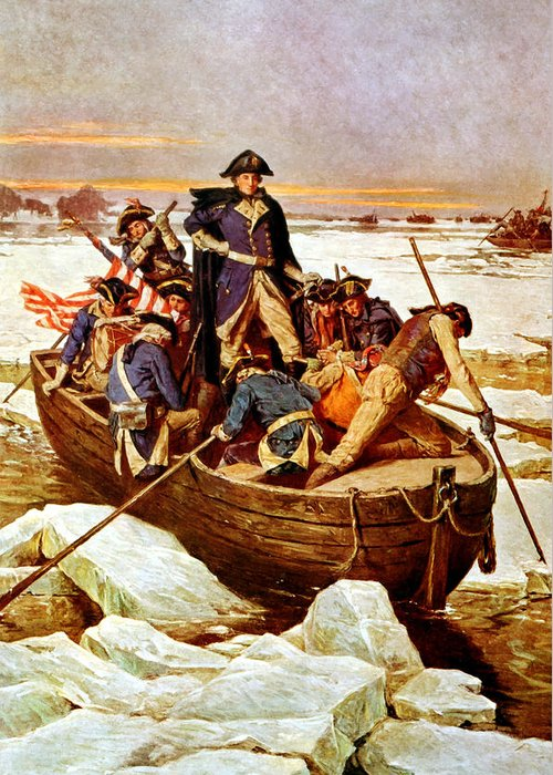 George Washington Greeting Card featuring the painting General Washington Crossing The Delaware River by War Is Hell Store