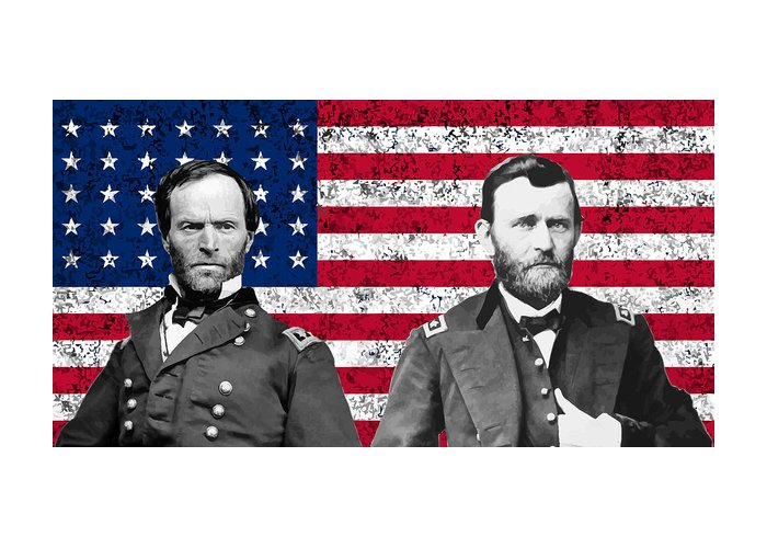 Civil War Greeting Card featuring the painting Generals Sherman And Grant by War Is Hell Store