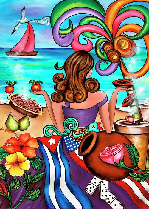 Cuba Greeting Card featuring the painting Generation Spanglish by Annie Maxwell