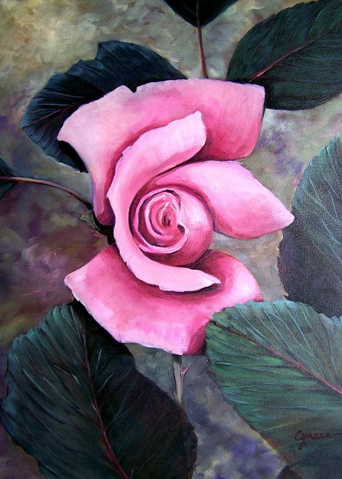Rose Floral Pink Oil Painting. Oil Greeting Card featuring the painting Generational Rose by Cynara Shelton