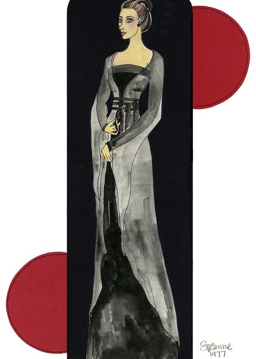 Fashion Greeting Card featuring the mixed media Genevieve by Suzanne Blender