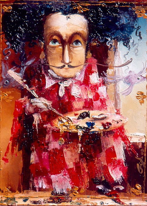 Genius Greeting Card featuring the painting Genius by Gia Chikvaidze