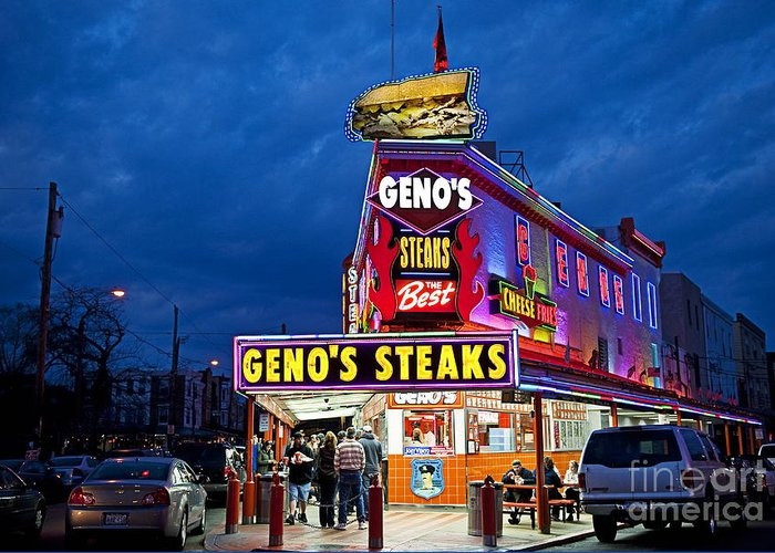 Philadelphia Greeting Card featuring the photograph Geno's Steaks South Philly by John Greim