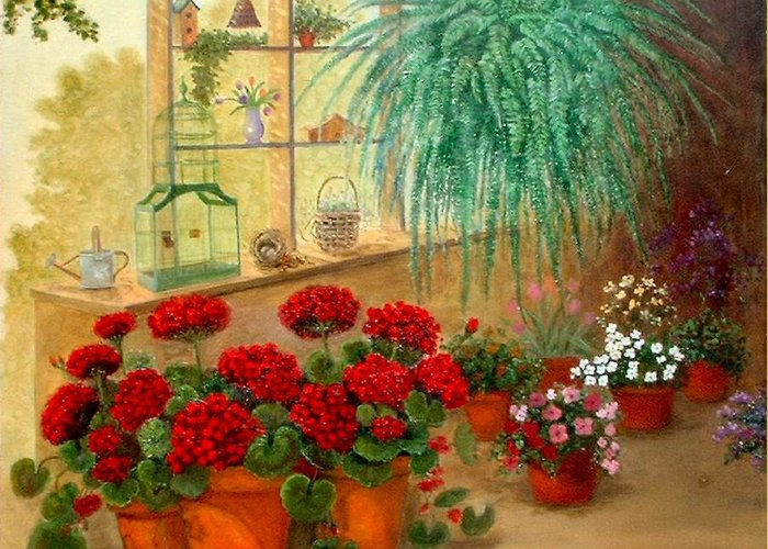 Greenroom Greeting Card featuring the painting Gen's Green Room by Jeanene Stein