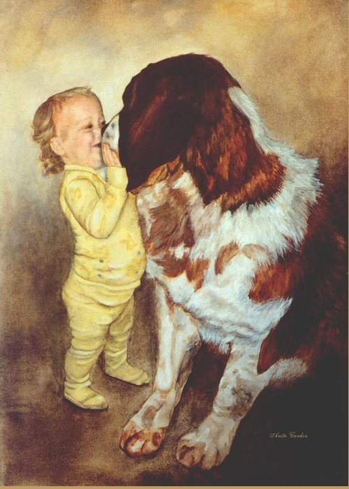 Dog Greeting Card featuring the painting Gentle Giant by Anita Carden