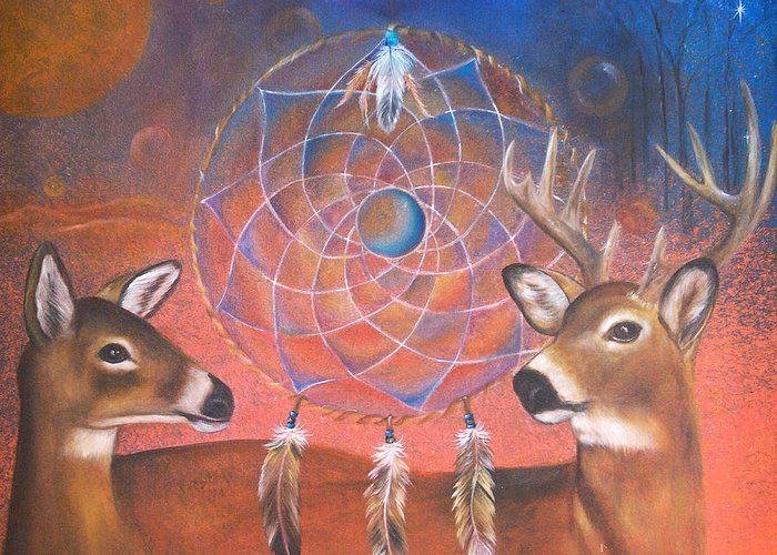 Deer Greeting Card featuring the painting Gentle Love by Sundara Fawn