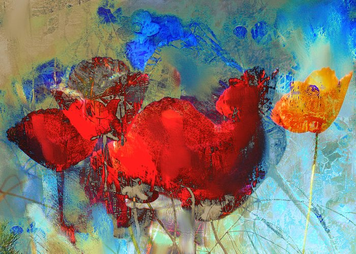 Flowers Greeting Card featuring the painting Gentle Poppies by Anne Weirich