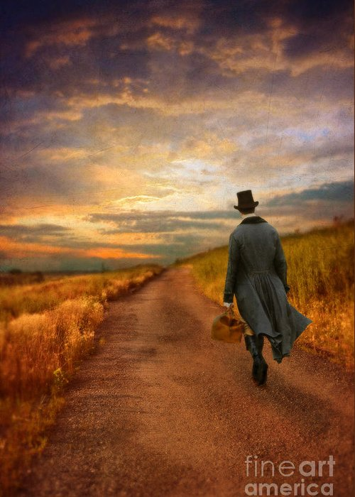 Young Greeting Card featuring the photograph Gentleman Walking On Rural Road by Jill Battaglia