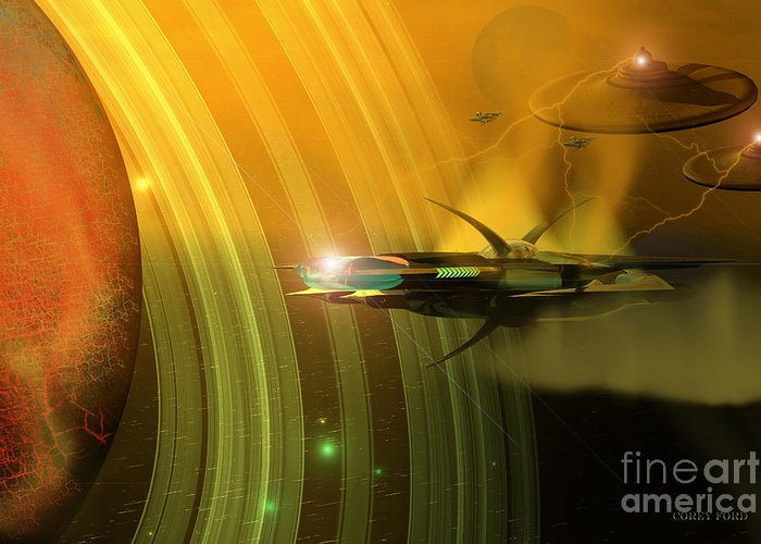 Space Art Greeting Card featuring the painting Genx 12 by Corey Ford
