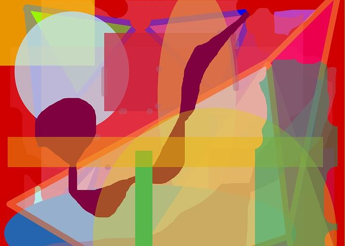 Abstract Greeting Card featuring the painting Geo Frenzy by Pharris Art