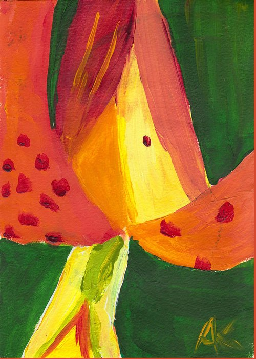 Painting Greeting Card featuring the painting Geo-lily by Amber Kalmar