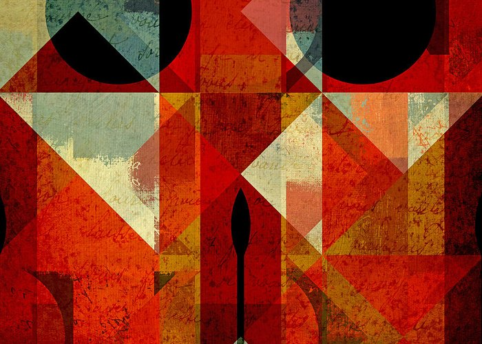Abstract Greeting Card featuring the digital art Geomix-04 - 39c3at22g by Variance Collections