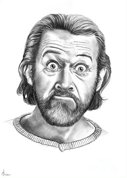Portrait Greeting Card featuring the drawing George Carlin by Murphy Elliott