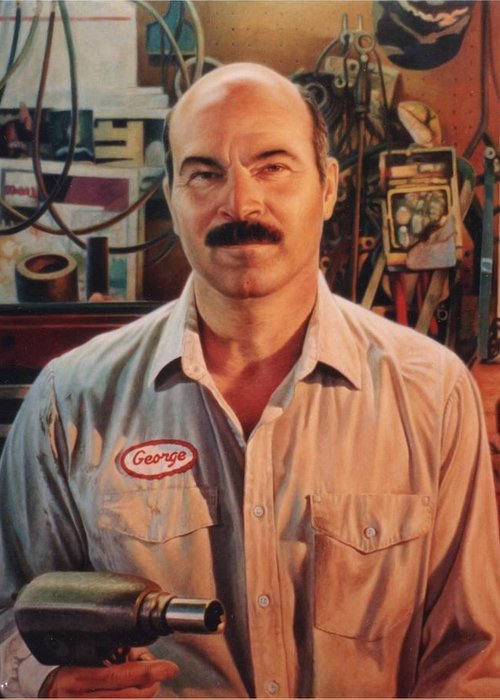Mechanic Greeting Card featuring the painting George My Mechanic by Hans Droog