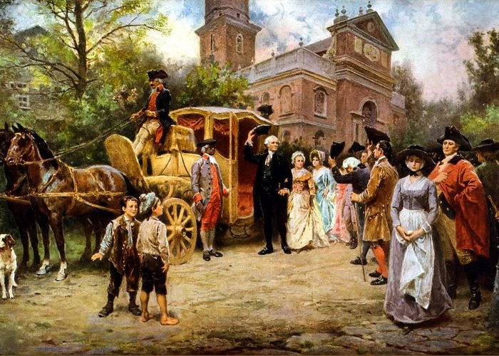 George Washington Greeting Card featuring the painting George Washington Arriving At Christ Church by War Is Hell Store
