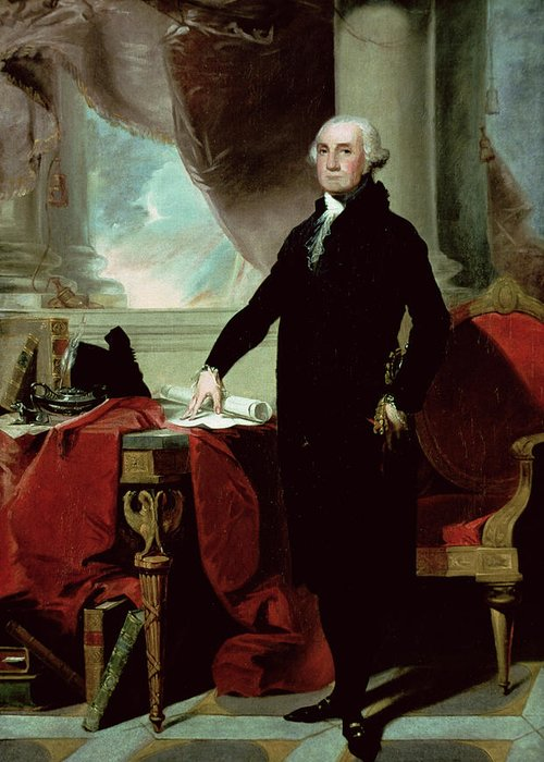 George Washington (1732-99) (colour Litho) By Gilbert Stuart (1755-1828) Greeting Card featuring the painting George Washington by Gilbert Stuart