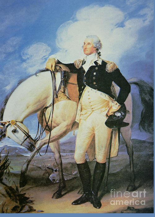 Male; Portrait; Full Length; Tricorn Hat; United States; Politician; Military; Horse; Battle; Battlefield; Hilltop; Officer; Soldier; American; 1st Greeting Card featuring the painting George Washington by John Trumbull