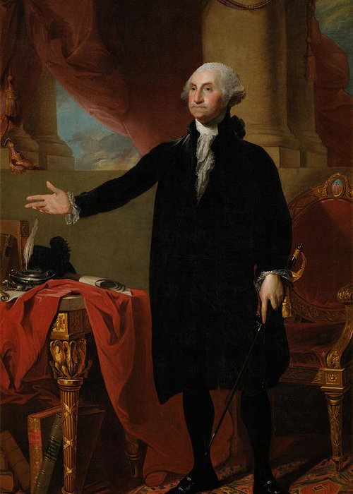 George Washington Greeting Card featuring the painting George Washington Lansdowne Portrait by War Is Hell Store