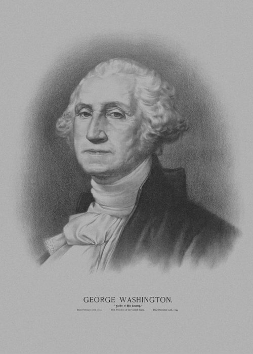 George Washington Greeting Card featuring the mixed media George Washington by War Is Hell Store