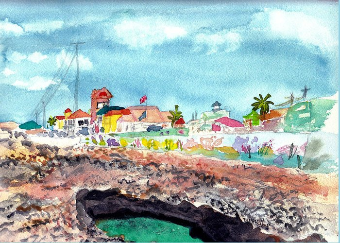 Tropical Greeting Card featuring the painting Georgetown Cayman Islands by Donna Walsh