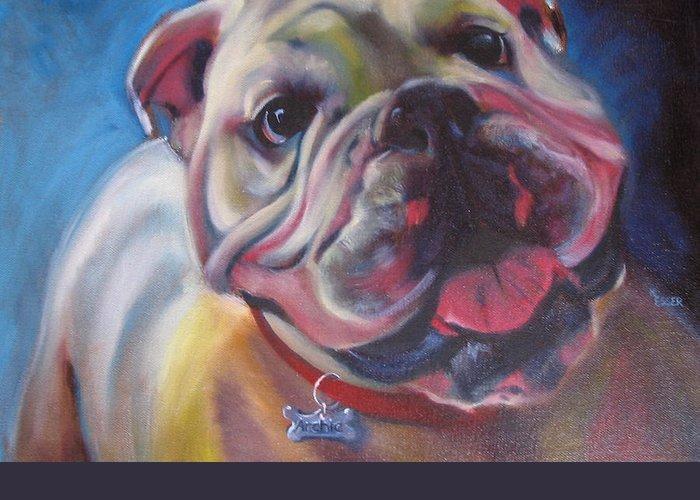 Bulldog Greeting Card featuring the painting Georgia Bulldog by Kaytee Esser