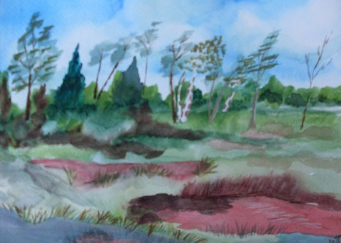 Watercolor Landscape Pond Trees Greeting Card featuring the painting Georgia Pond by Warren Thompson
