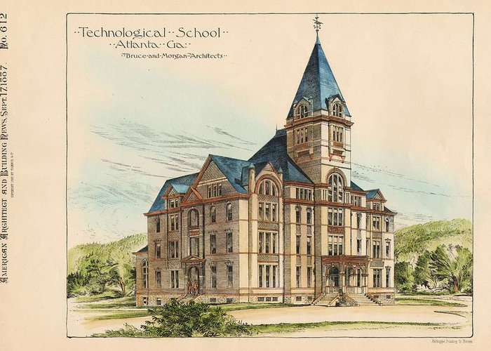 Georgia Greeting Card featuring the painting Georgia Technical School. Atlanta Georgia 1887 by Bruce and Morgan