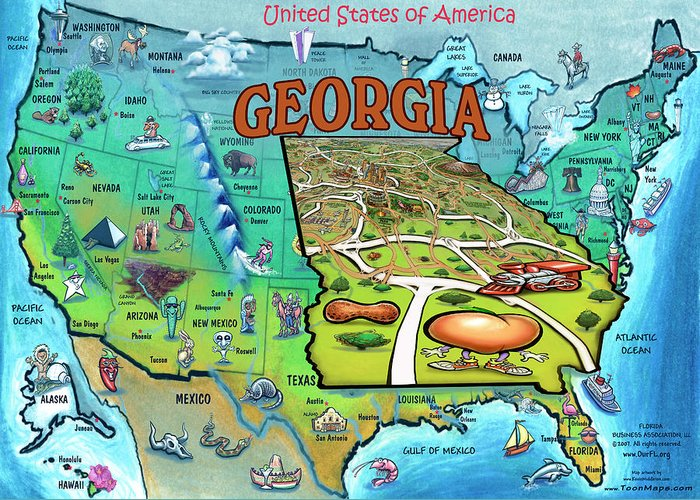 Georgia On Usa Map.Georgia Usa Cartoon Map Greeting Card For Sale By Kevin Middleton
