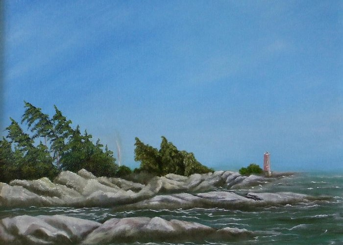 Landscape Greeting Card featuring the painting Georgian Bay by Rebecca Fitchett