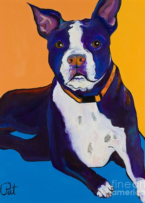 Boston Terrier Greeting Card featuring the painting Georgie by Pat Saunders-White