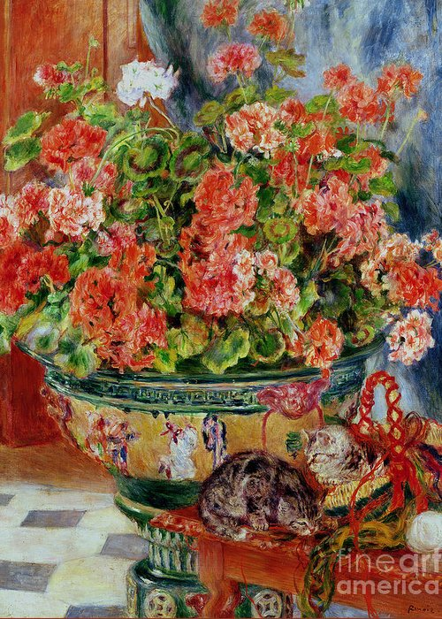Geraniums And Cats Greeting Card featuring the painting Geraniums And Cats by Pierre Auguste Renoir