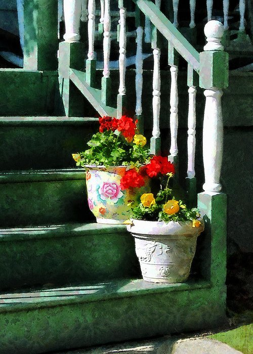 Front Steps Greeting Card featuring the photograph Geraniums And Pansies On Steps by Susan Savad