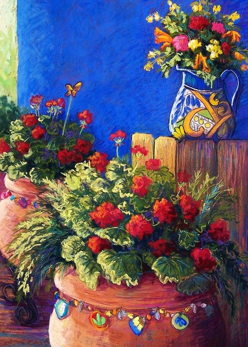 Garden Greeting Card featuring the pastel Geraniums And Talavera by Candy Mayer