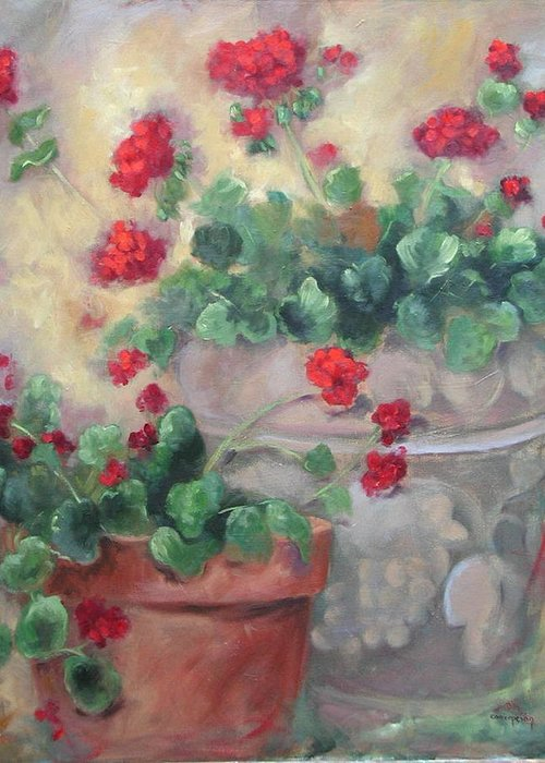 Geraniums Greeting Card featuring the painting Geraniums by Ginger Concepcion