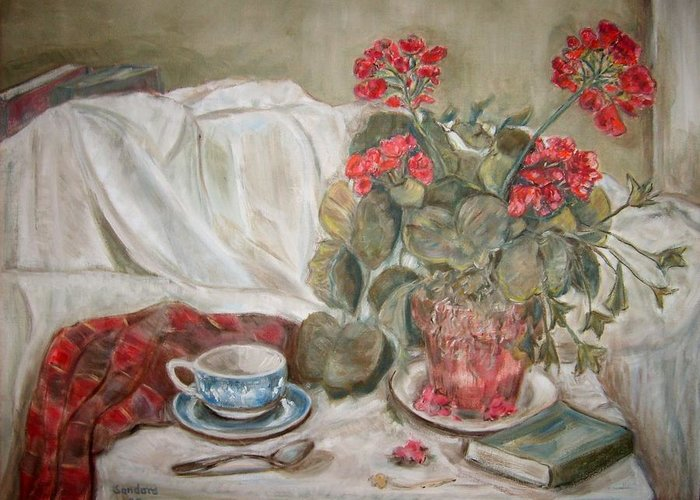 Still Life Greeting Card featuring the painting Geraniums by Joseph Sandora Jr