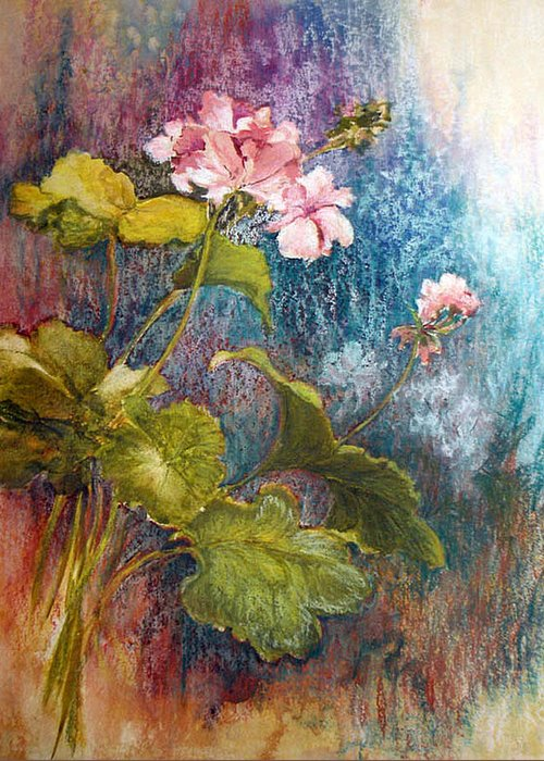 Mixed Media;geraniums;chalk;floral;flowers;contemporary; Greeting Card featuring the mixed media Geraniums by Lois Mountz