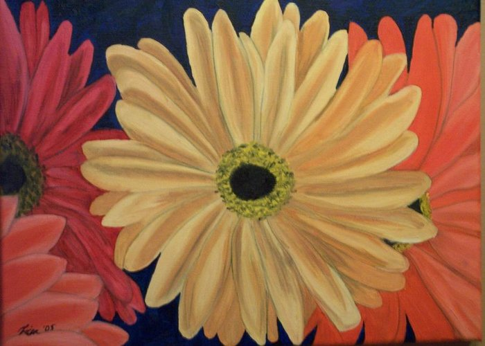 Landscape Greeting Card featuring the painting Gerbera Daisies by Lisa Gabrius