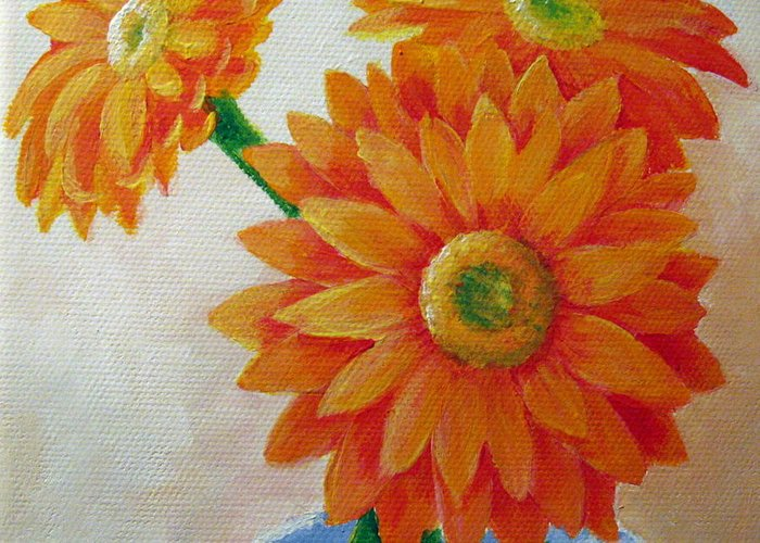 Gerbera Daisy Greeting Card featuring the painting Gerbera Daisies by Sharon Marcella Marston
