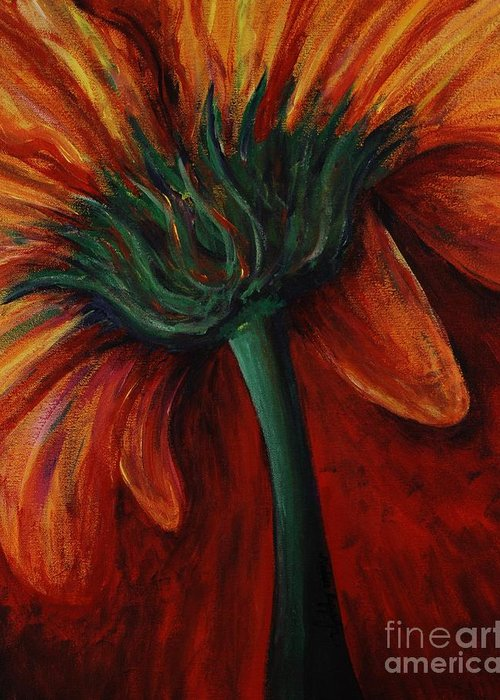 Gerbera Daisy.daisy Greeting Card featuring the painting Gerbera Daisy by Nadine Rippelmeyer