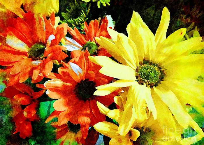 Gerberer Daisies Yellow And Orange Greeting Card For Sale By Femina