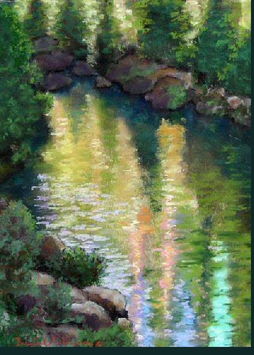 Landscape Greeting Card featuring the painting Gerle Creek by Brenda Williams