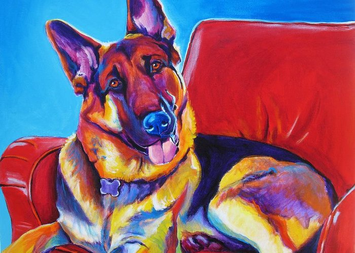 Dawgart Greeting Card featuring the painting German Shepherd - Zeke by Alicia VanNoy Call