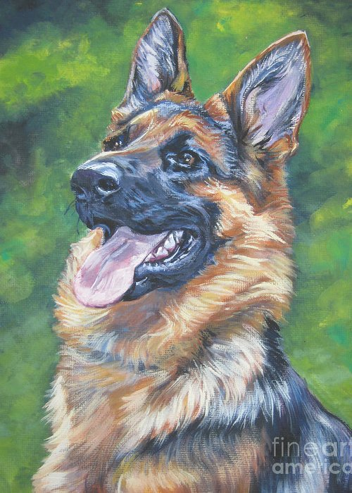 German Shepherd Greeting Card featuring the painting German Shepherd Head Study by Lee Ann Shepard